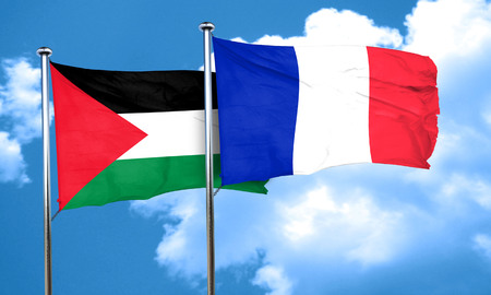 palestine flag with France flag, 3D rendering