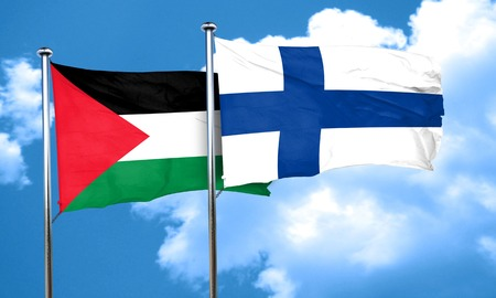 palestine flag with Finland flag, 3D rendering