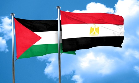 palestine flag with egypt flag, 3D rendering