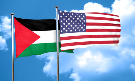 palestine flag with American flag, 3D rendering
