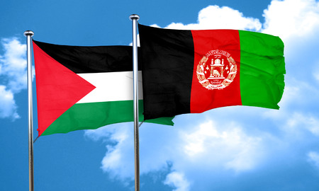 palestine flag with afghanistan flag, 3D rendering Imagens