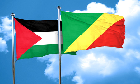 palestine flag with congo flag, 3D rendering Imagens