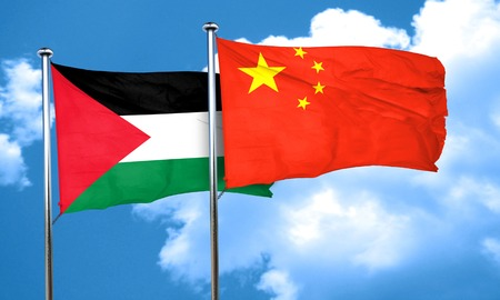 palestine flag with China flag, 3D rendering