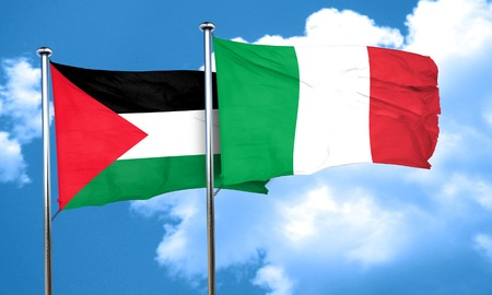 palestine flag with Italy flag, 3D rendering