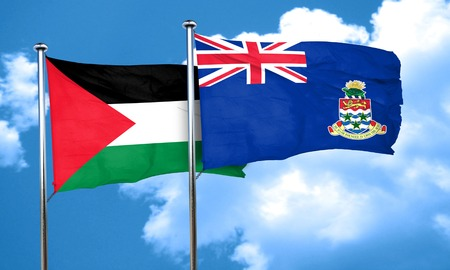 palestine flag with Cayman islands flag, 3D rendering