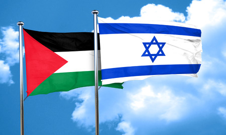 palestine flag with Israel flag, 3D rendering Imagens