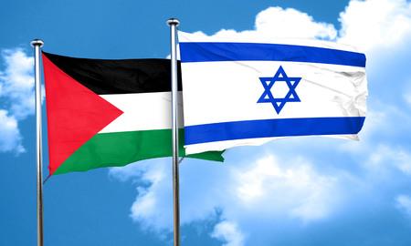 israel flag: palestine flag with Israel flag, 3D rendering Stock Photo