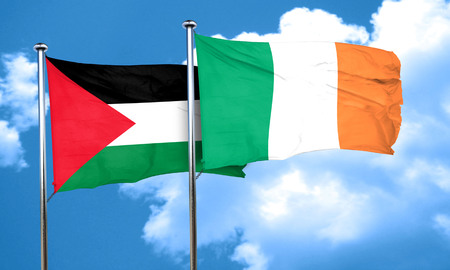 palestine flag with Ireland flag, 3D rendering