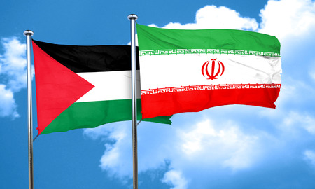 palestine flag with Iran flag, 3D rendering Imagens