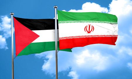 palestine: palestine flag with Iran flag, 3D rendering Stock Photo