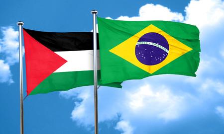 palestine: palestine flag with Brazil flag, 3D rendering Stock Photo