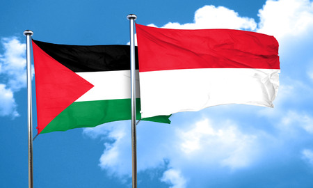 palestine flag with Indonesia flag, 3D rendering