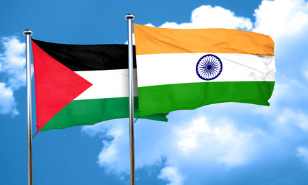 palestine flag with India flag, 3D rendering Imagens - 58079336
