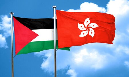 palestine flag with Hong Kong flag, 3D rendering Imagens