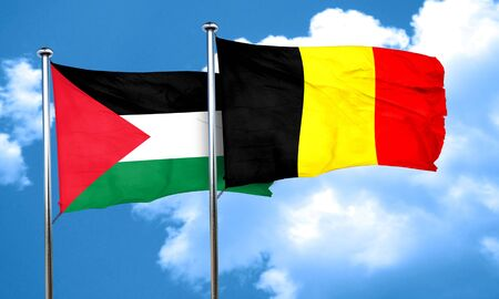 palestine flag with Belgium flag, 3D rendering