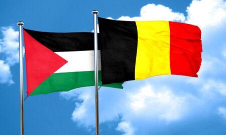 palestine: palestine flag with Belgium flag, 3D rendering