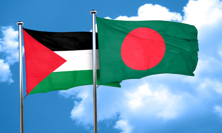 palestine flag with Bangladesh flag, 3D rendering Imagens