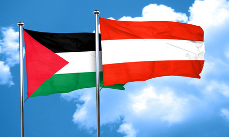 palestine flag with Austria flag, 3D rendering