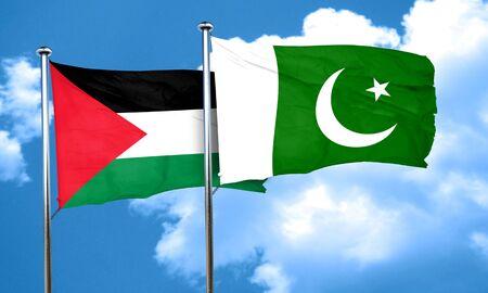 palestine: palestine flag with Pakistan flag, 3D rendering