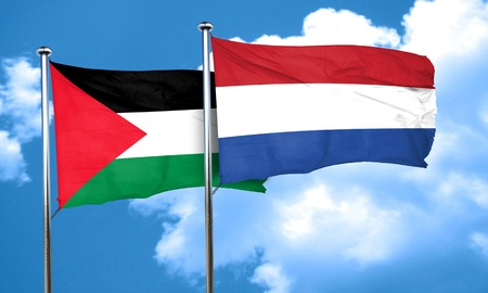 palestine: palestine flag with Netherlands flag, 3D rendering