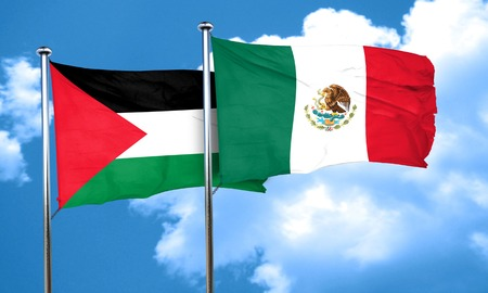 palestine: palestine flag with Mexico flag, 3D rendering