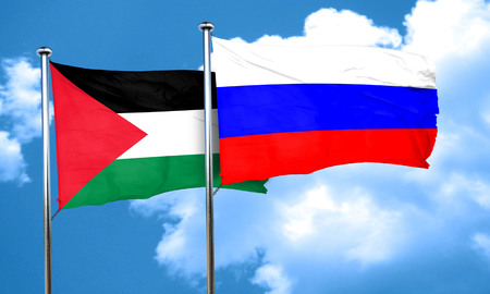 palestine flag with Russia flag, 3D rendering