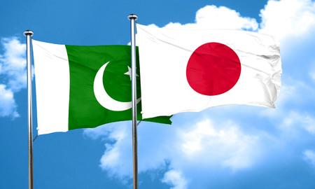 pakistan flag: Pakistan flag with Japan flag, 3D rendering Stock Photo