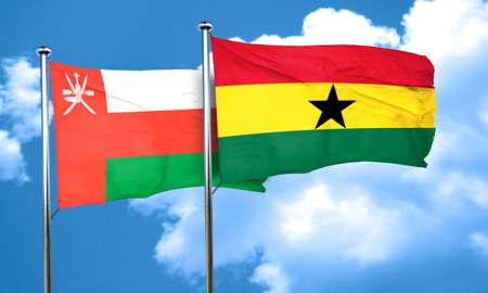 ghanese: Oman flag with Ghana flag, 3D rendering