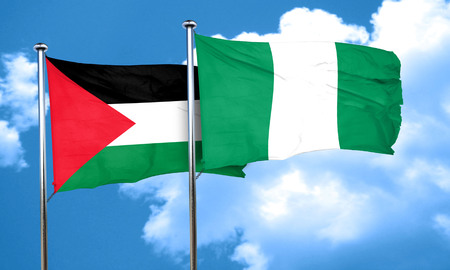 palestine flag with Nigeria flag, 3D rendering Imagens