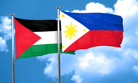 palestine: palestine flag with Philippines flag, 3D rendering