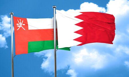 bahrain: Oman flag with Bahrain flag, 3D rendering Stock Photo