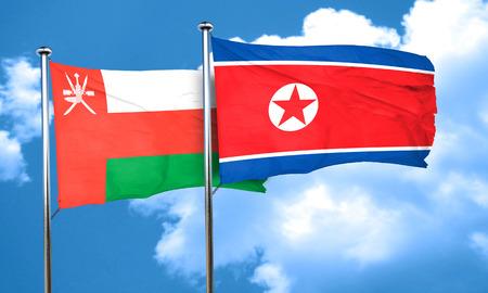 korea flag: Oman flag with North Korea flag, 3D rendering