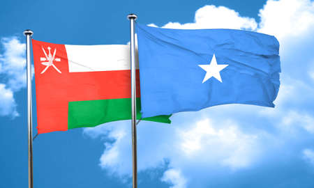 somalian culture: Oman flag with Somalia flag, 3D rendering