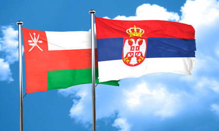 serbia flag: Oman flag with Serbia flag, 3D rendering Stock Photo