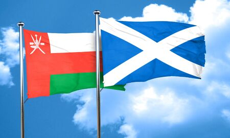 scotland: Oman flag with Scotland flag, 3D rendering