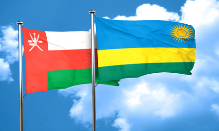 rwanda: Oman flag with rwanda flag, 3D rendering Stock Photo