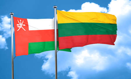 lithuania: Oman flag with Lithuania flag, 3D rendering
