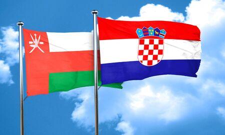 bandera croacia: bandera de Omán con la bandera de Croacia, 3D Foto de archivo