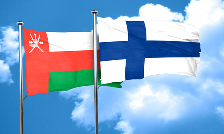 finland flag: Oman flag with Finland flag, 3D rendering