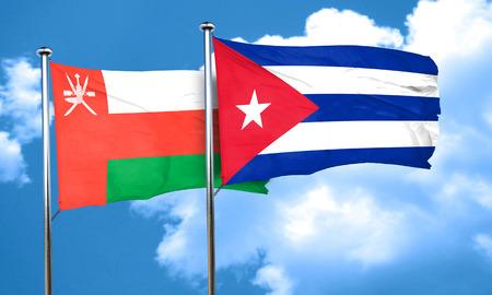 cuba flag: Oman flag with cuba flag, 3D rendering Stock Photo