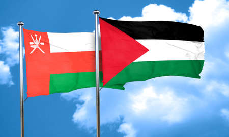 palestine: Oman flag with Palestine flag, 3D rendering