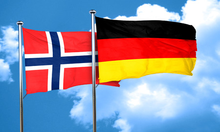 norway flag: norway flag with Germany flag, 3D rendering