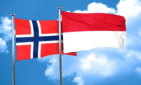 norway flag: norway flag with Indonesia flag, 3D rendering