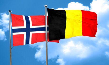 norway flag: norway flag with Belgium flag, 3D rendering