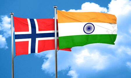 norway flag: norway flag with India flag, 3D rendering