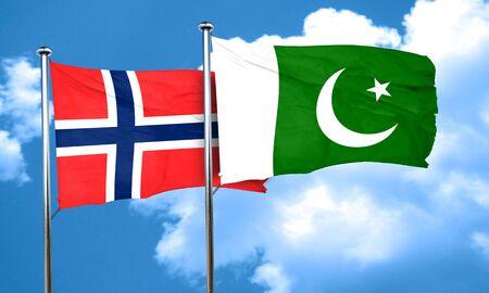 norway flag: norway flag with Pakistan flag, 3D rendering