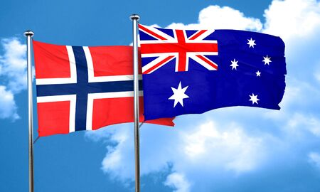 norway flag: norway flag with Australia flag, 3D rendering Stock Photo