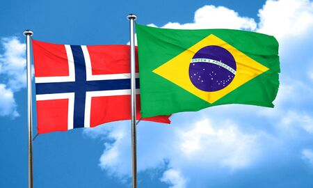 norway flag: norway flag with Brazil flag, 3D rendering