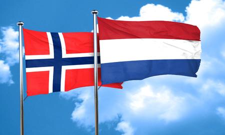 netherlands flag: norway flag with Netherlands flag, 3D rendering