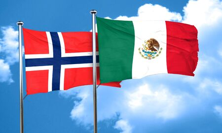 norway flag: norway flag with Mexico flag, 3D rendering